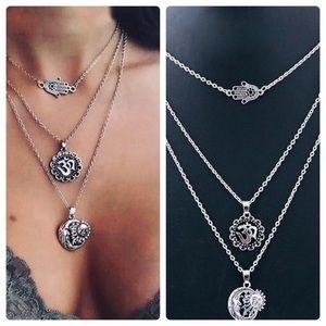 Jewelry - Triple Layer Delicate Silver Necklace Hamsa Om